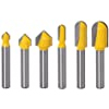 Yakamoz 6Pcs Carbide 90 Degree V-Groove and Round Nose Groove Router Bit Set